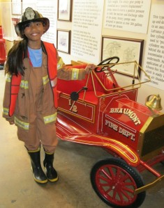 fire truck, small fire truck, girl in fire fighter uniform, fire fighter girl, Beaumont, Texas