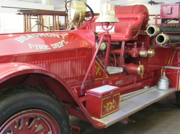 fire truck, Beaumont Fire Department, brass bell, red truck, old time truck